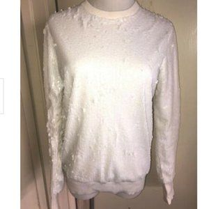 Equipment White Sequin Sweater Women's Size Xs